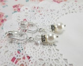 Dangle Clip On Bridal Earrings. White Pearl Earrings. Pearls and Crystal. Vintage Style Wedding Earrings. Petite Small Short Bridal.