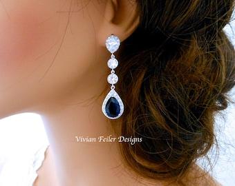 WEDDING Earrings SAPPHIRE BLUE Bridal Earrings Long Lux Tear Drop Wedding Jewelry Cubic Zirconia Prom Pageant Jewelry Bridal Glamorous Bling