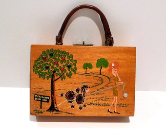 Poodle Box Bag Vintage Simon Curb Your Dog Wooden Handbag 1970s Woman Walking Her Dog Purse Dog Peeing On Tree Made in Japan Embellished