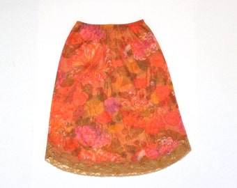 Vanity Fair Floral Half Slip Vintage Chrysanthemum Flower Orange Slip Size Extra Small Nylon Tricot Lace hem 1960s Lingerie skirt Tween Teen