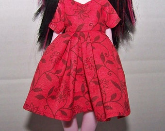 Handmade Monster High doll clothes - red with flowery pattern dress