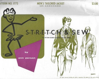 Stretch & Sew 1775 Mens 60s Tailored Jacket Sewing Pattern Chest 36 to 50