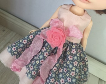 Blythe Drop Waist Dress  - Pink and Blue Floral