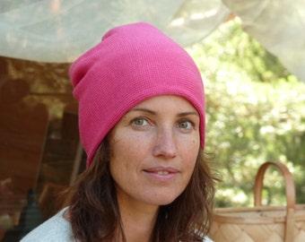 Beanie Hat, Pink Merino Beanie hat, Knitted wool hat, Merino wool hat, Unisex wool hat,