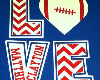 YOUTH, Toddler & Infant Size ORIGINAL DESIGN, Football Chevron LoVe T-Shirt, Football Sister shirt, Chevron Football heart