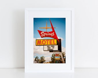 Rock Springs Motel Neon Sign Art | Mid Century Modern Wall Art