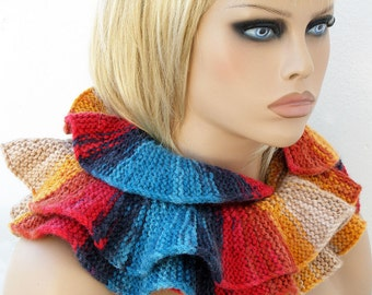 Knit Ruffled Scarf. Colorful Knitted Flounce Scarf Capelet. Fashion Accessory. Multicolor Womens Gift for Her.