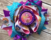 Girls Layered Bubble Guppies Hair Bow Bubble Guppies Bow Bubble Guppies Clip Bubble Guppies Birthday Hair Bow Clip