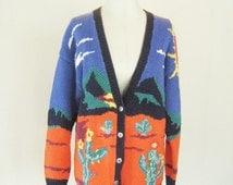 Desert Sun Novelty Knit Cactus Sweater Top