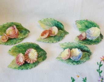Vintage Set of 5 Italy Capodimonte Flowers PLACE CARD Holders