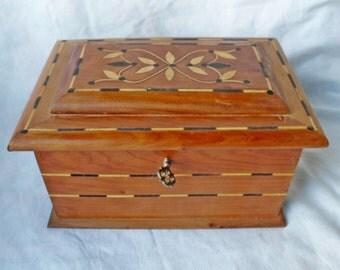 Vintage Wood Inlaid Trinket Jewelry Box