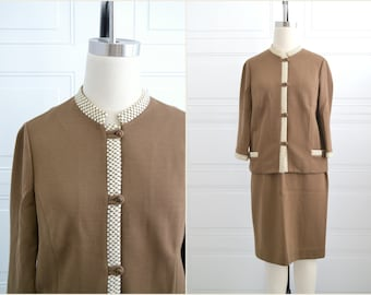 1960s Butte Knits Wool Brown Skirt Suit