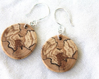 medium spalted beech wood and sterling silver earrings