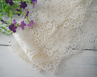 """vintage wide lace cream lace 3 yards vintage lace floral pattern lace french country lace cottage chic lace quality POLYESTER  - 4.75"""" wide"""