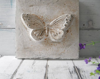 """butterfly wall decor cottage chic hand painted rusty aged wall decor heavy cast iron shabby decor rustic decor 3D butterfly - 7' x 7"""""""
