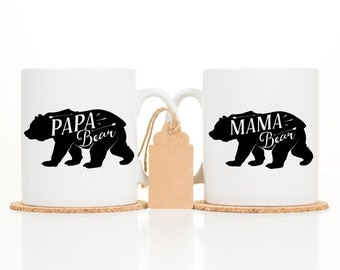 His and Hers Coffee Mugs - Mama and Papa Bear Mugs - Couples Coffee Mugs - Coffee mug Sets - New Dad Gift - New Mom Gift - Baby Shower gift
