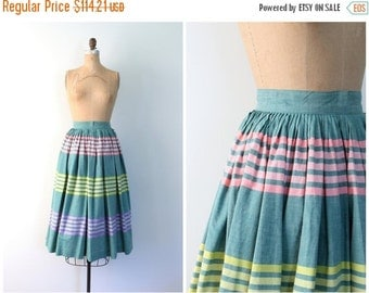 "SALE / darling 1950s striped circle skirt - 124"" full sweep - tea length / Sweet Kawaii - pastel rainbow stripes / Loilta - summer - ladies"