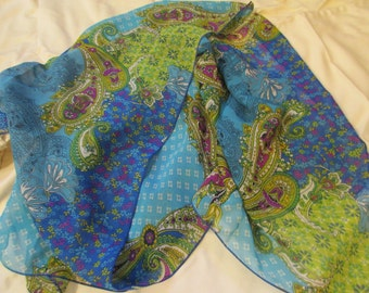 A Cacophony of Color: VINTAGE 100 Per Cent SILK Scarf w/Patterns of Aqua, Green, Yellow, Royal Blue, Fucshia and More - Long, Rectangular