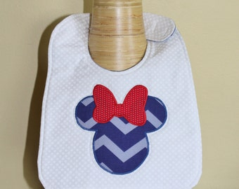 Patriotic/Fourth of July/American Disneys Minnie Mouse Baby Girl Bib
