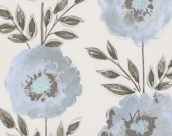 Dena Designs - THE PAINTED GARDEN - Rose in Gray - 1 Yard - Cotton Fabric