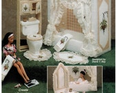 Fashion Doll Plastic Canvas Dollhouse Bathroom - Barbie
