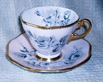 Vintage Foley Blue Rose Tea Cup and Saucer