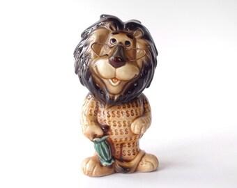 Vintage Hubert the Harris Lion coin piggy bank, Lefton ceramic figural money box, Chicago bank mascot advertising premium, made in Japan