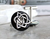 black celtic knot cufflinks, triquetra cufflinks, celtic heart, anniversary gift, celtic cufflinks, irish jewelry, mens jewelry, mens gift