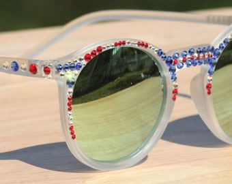 Round Patriotic Sunglasses, Mirrored Sunglasses, Frosted White Sunglasses, Round Mirrored Sunglasses, Pearl and Swarovski Crystal Sunglasses
