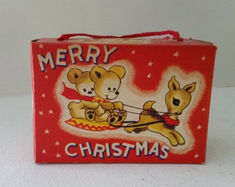 Vintage Christmas Candy Box - Bears on Sled