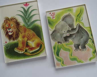 Pair 5x7 UpCycled Framed Storybook Images ~ The Saggy Baggy Elephant~ Baby Nursery Childrens Playroom