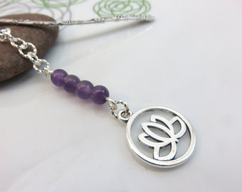 Amethyst bookmark - silver metal bookmark - lotus flower bookmark - silver lotus bookmark - silver bookmark - gift for book lover