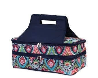 Personalized Double Casserole Carrier  - moroccan roll