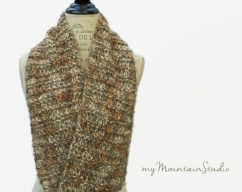 Women's Handmade Infinity Scarf Cowl in Cobblestone - Earthy Colors - Made in Montana - Ready to Ship