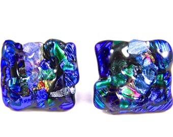 "Dichroic Knobs - Set of 2 - Drawer Pull Cabinet Handle - Mosaic 1"" / 25mm - Turquoise Blue Green Pink Custom Made Fused Glass Kitchen Bath"