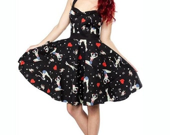 Brand New Cool Retro Zombie Pin Up 50s Inspired Mini Dress Rockabilly Pin Up Halloween