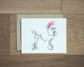 Poodle with flower crown blank card