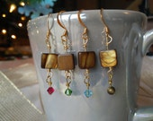 Brown Shell Earrings with Crystal and Stone Accents