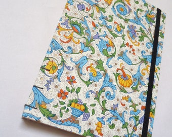 Florentine notebook- Fruit and flowers, rossi, journal, A5, elastic, colour pages