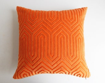 Orange Pillow Cover - Vintage Modern Geometric Cut Velvet - Metallic Gold - Hollywood Regency Decor