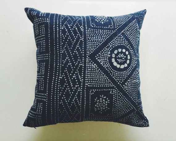 Indigo Batik Pillow Cover - Vintage Chinese Boho Pillow - Bohemian Throw Pillow