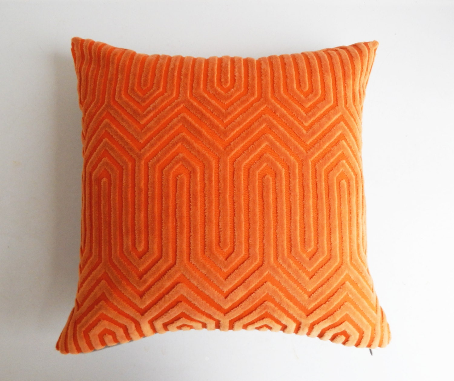 Modern Orange Pillow : Orange Pillow Cover Vintage Modern Geometric Cut Velvet