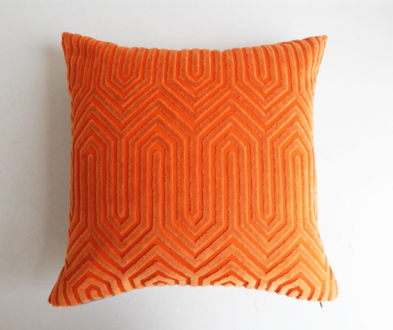 Orange Pillow Cover Vintage Modern Geometric Cut Velvet