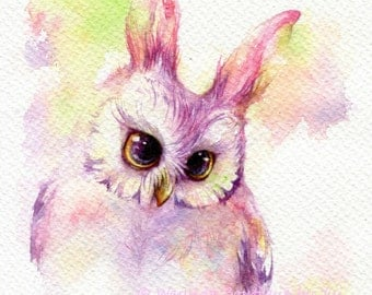 Owl Easter - ORIGINAL watercolor painting 7.5x11 inches