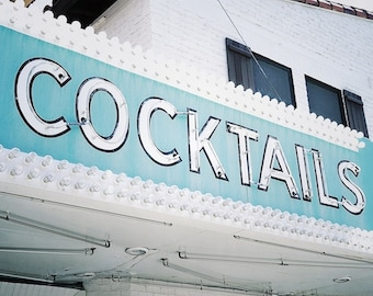 Cocktails Sign, Bar Room Decor, Beach Bar Art, Old Sign Photography, Old Neon Sign Art