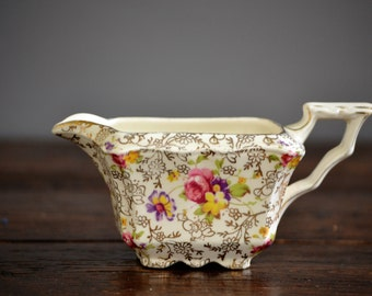 Pearl Delight Creamer by James Kent / Square Fenton Gold Floral Chintz