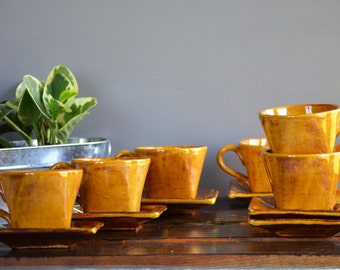 Reduced! Six Golden Yellow Squared Mugs & Saucer Set / Appetizer Plate