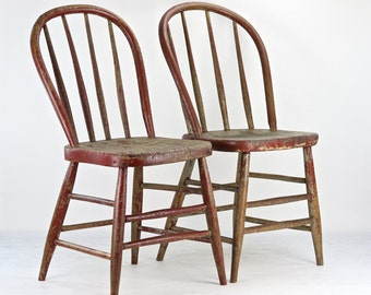Farmhouse Chairs, Rustic Dining Chairs, Antique Spindle Chairs, Primitive Chairs, Bentwood Back Chairs, Dining Chairs, Old Red Chairs