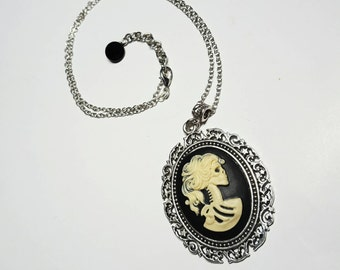SALE Gothic Black & Ivory Skeleton Skull Lolita Girl Cameo Pendant Necklace w/Large Silver Filigree Frame 40mm x 30mm Pin Up FREE SHIPPING