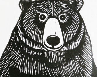 Bear, Original Linocut Print, Signed Limited Edition of 50,  Free Postage in UK, Hand Pulled, Printmaking,